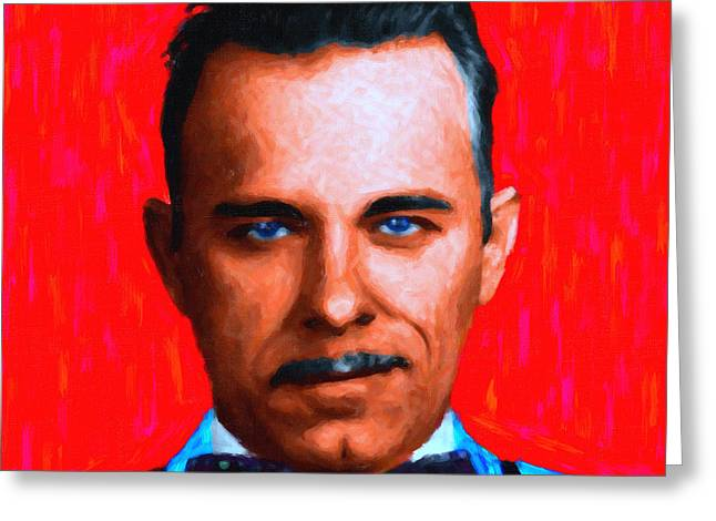 Spoof Greeting Cards - Gangman Style - John Dillinger 13225 - Red - Painterly Greeting Card by Wingsdomain Art and Photography