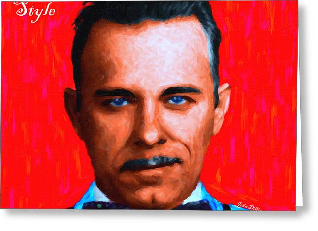 Gangman Style - John Dillinger 13225 - Red - Painterly - With Text Greeting Card by Wingsdomain Art and Photography