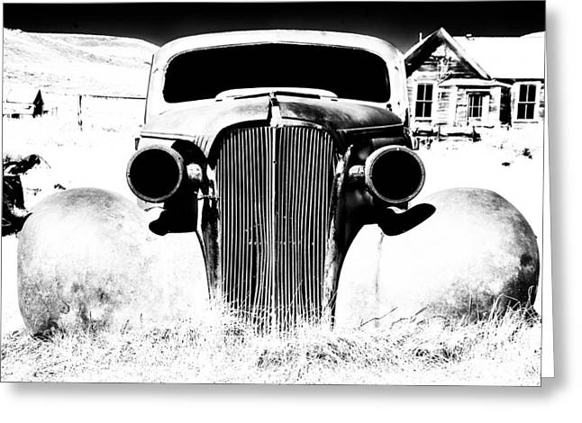 Ghost Town Greeting Cards - Gangster Car Greeting Card by Cat Connor