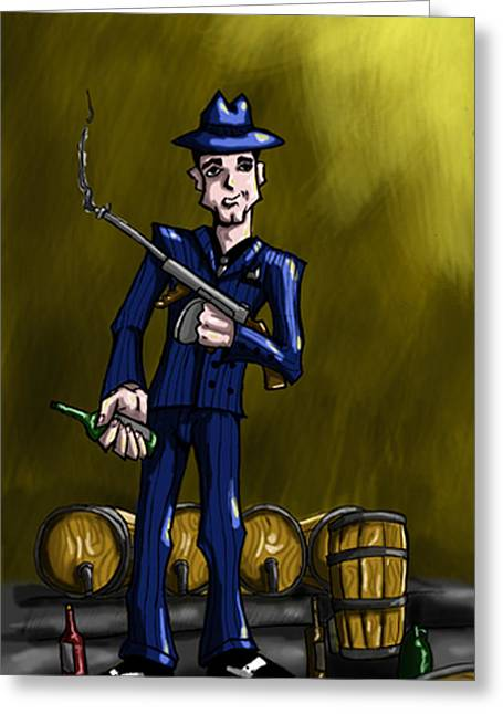 Tommy Gun Greeting Cards - Gangster Greeting Card by Kerstin Carrion