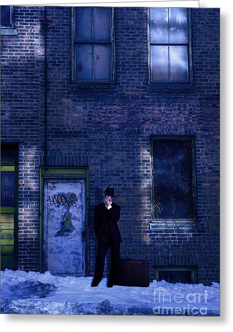 Gangster On A Dark Street Greeting Card by Diane Diederich