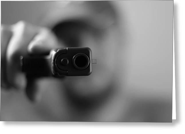 Gun Owner Greeting Cards - Gangster Shot Greeting Card by Dan Sproul