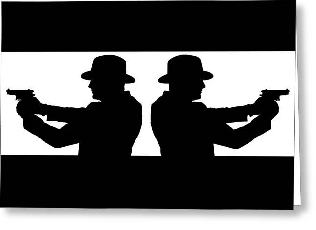 Tough Guy Greeting Cards - Gangster Silhouette Greeting Card by Richard ONeil