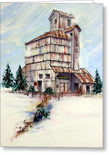 Tim Ross Greeting Cards - Gano Grainery Greeting Card by Tim Ross