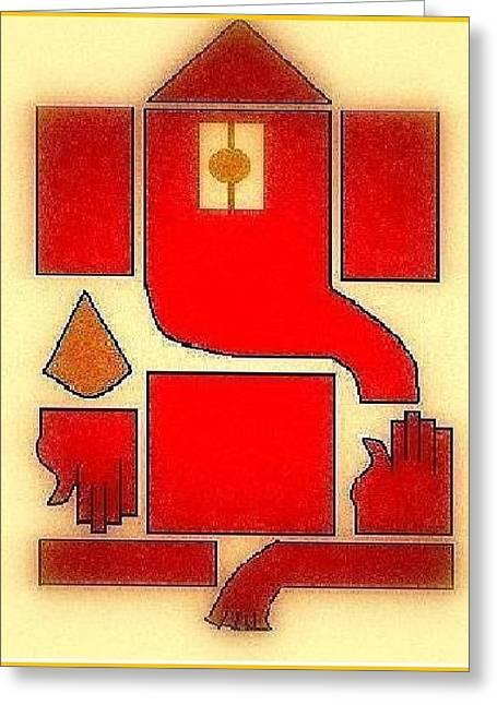Ganpati Deva Greeting Card by Mannoj Umale