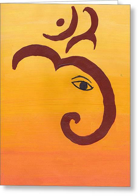 Sacred Cow Greeting Cards - Ganpati- OM Greeting Card by Melissa Vijay Bharwani