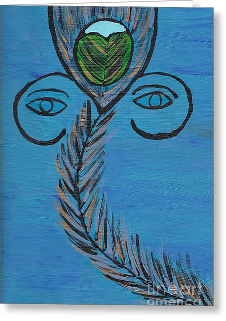 Gopala Greeting Cards - Ganpati Peacock Feather Greeting Card by Melissa Vijay Bharwani