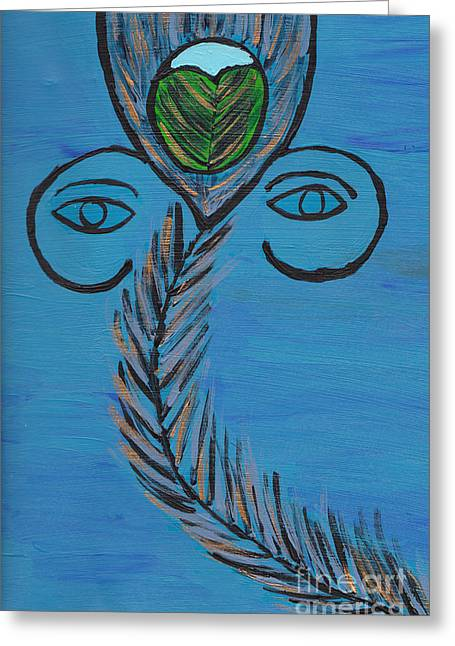 Gopala Greeting Cards - Ganpati Peacock Feather Greeting Card by Melissa Vijay Bharwani