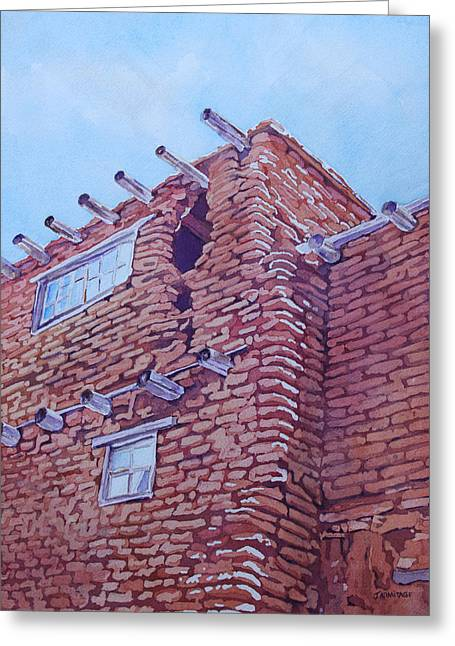 Dilapidated Paintings Greeting Cards - Gap in the Wall Greeting Card by Jenny Armitage