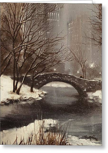 Gapstow Bridge Nyc Greeting Card by Tom Shropshire