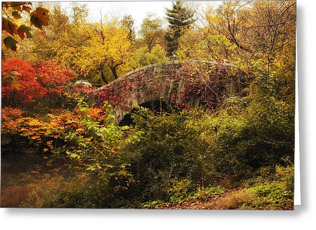 Gapstow Bridge Greeting Cards - Gapstow Cloaked in Autumn Greeting Card by Jessica Jenney