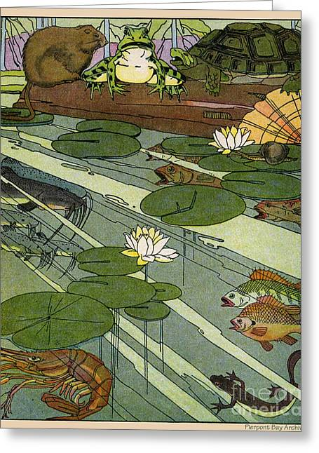 Etc. Digital Art Greeting Cards - Garada Clark Riley Living Pond with Frog Turtle Lily Pads Fish Crawfish Mouse Snail Lizard etc Greeting Card by Pierpont Bay Archives