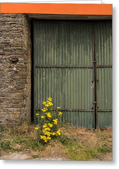 Ennistymon Greeting Card featuring the photograph Garage Door In Ennistymon by Ron St Jean