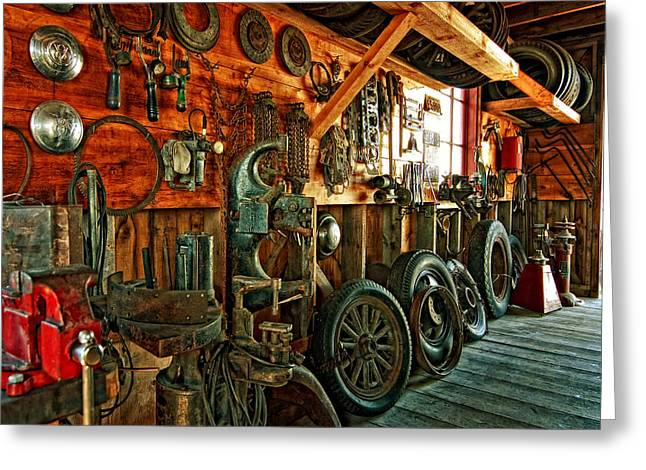 Ford Model T Car Digital Greeting Cards - Garage From the Past Greeting Card by Steve Harrington