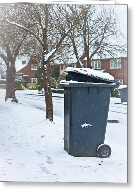 Conditions Photographs Greeting Cards - Garbage bin  Greeting Card by Tom Gowanlock
