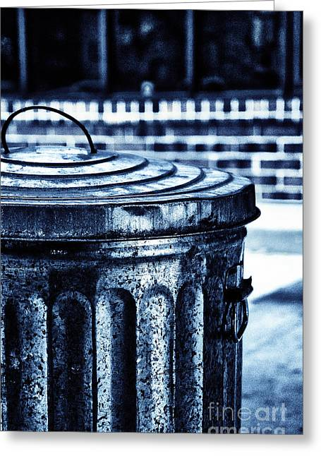 Bad Decisions Greeting Cards - Garbage Can Greeting Card by Birgit Tyrrell