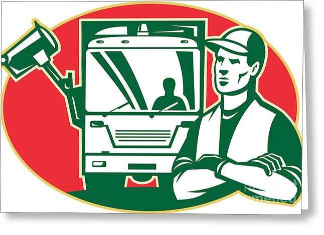 Garbage Greeting Cards - Garbage Collector and Side Loader Rubbish Truck Greeting Card by Aloysius Patrimonio