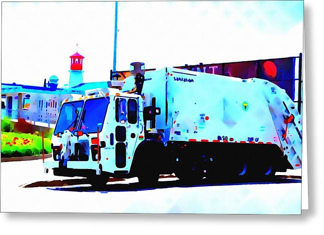 Editorial Paintings Greeting Cards - Garbage Truck in New York City  Greeting Card by Lanjee Chee