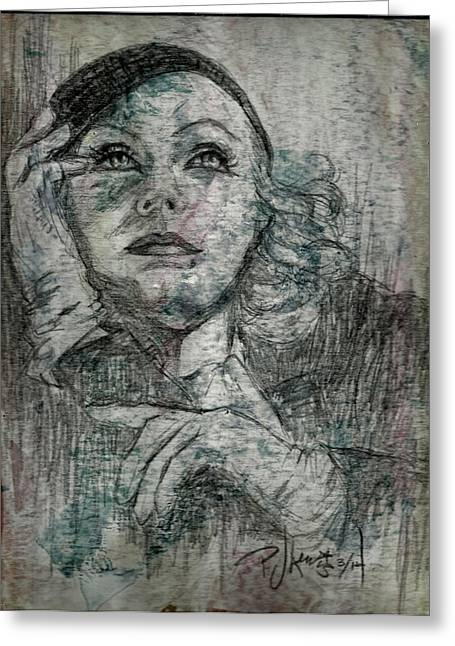 Movie Star Drawings Greeting Cards - Garbo Greeting Card by P J Lewis