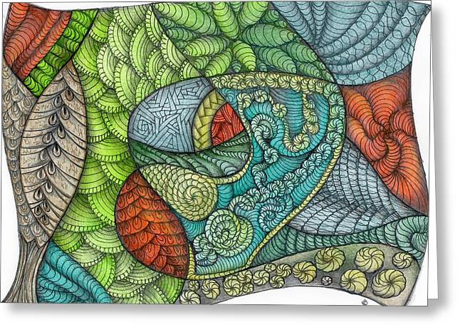 Food Safe Greeting Cards - Garden Abstract One Greeting Card by Carole Munshi