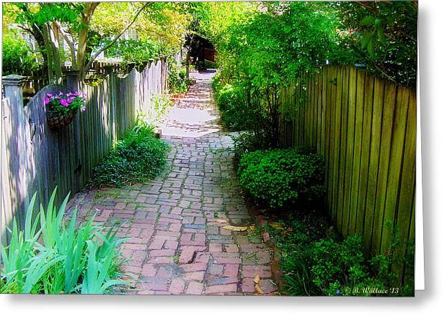 Garden Alley Greeting Card by Brian Wallace