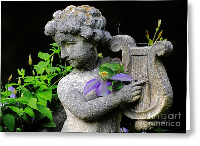 Garden Angel Greeting Card by Charline Xia