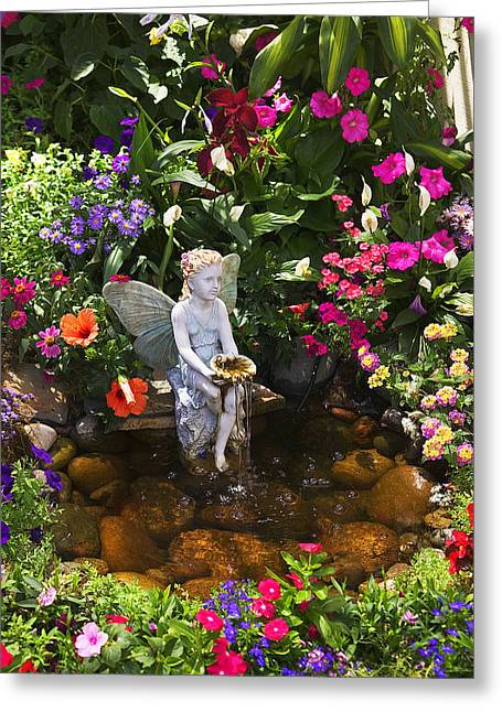 Water Garden Greeting Cards - Garden angel Greeting Card by Garry Gay
