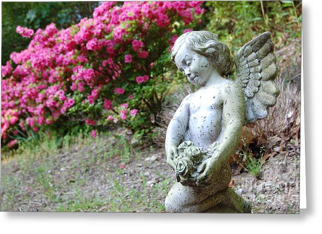Marble Eye Greeting Cards - Garden Angel Greeting Card by Laura Sapko