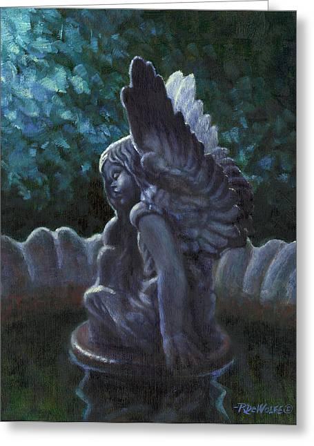 Birds Greeting Cards - Garden Angel Greeting Card by Richard De Wolfe