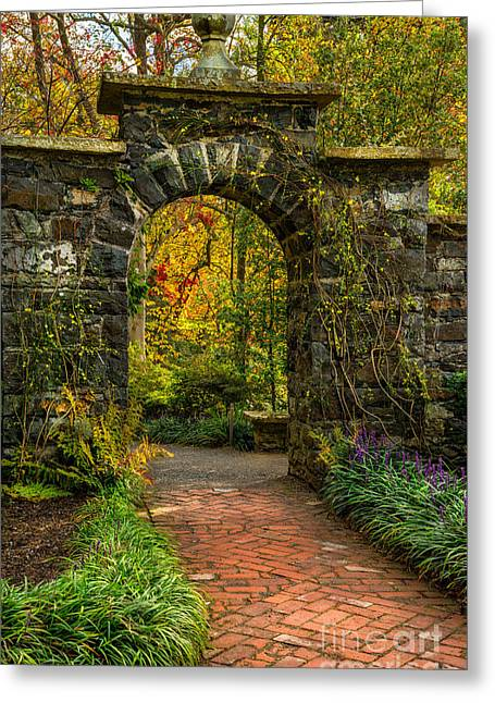 Acer Greeting Cards - Garden Arch Greeting Card by Adrian Evans