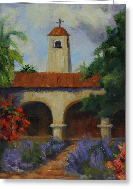 San Juan Paintings Greeting Cards - Garden at Mission San Juan Capistrano Greeting Card by Maria Hunt
