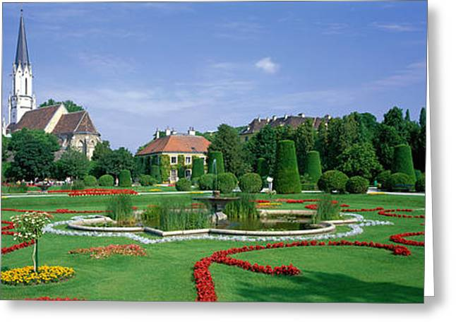 Water Garden Greeting Cards - Garden At Schonbrunn Palace Schloss Greeting Card by Panoramic Images