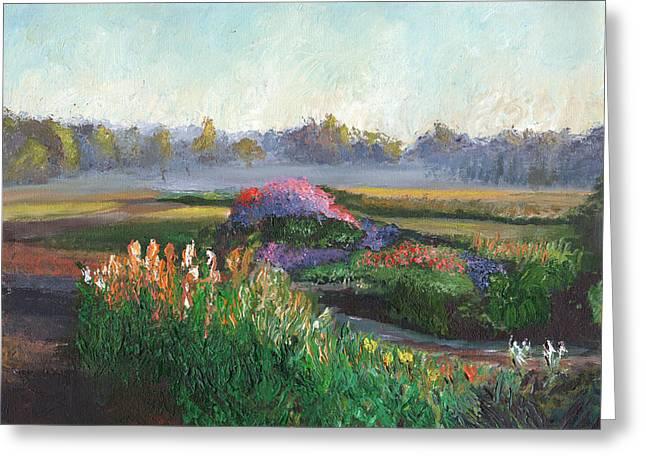 Garden At Sunrise Greeting Card by William Killen