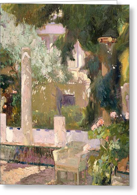 Historic Home Paintings Greeting Cards - Garden at the Sorolla House Greeting Card by Joaquin Sorolla