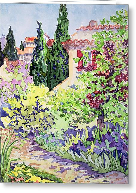 Tile Roof Greeting Cards - Garden at Vaison Greeting Card by Julia Gibson