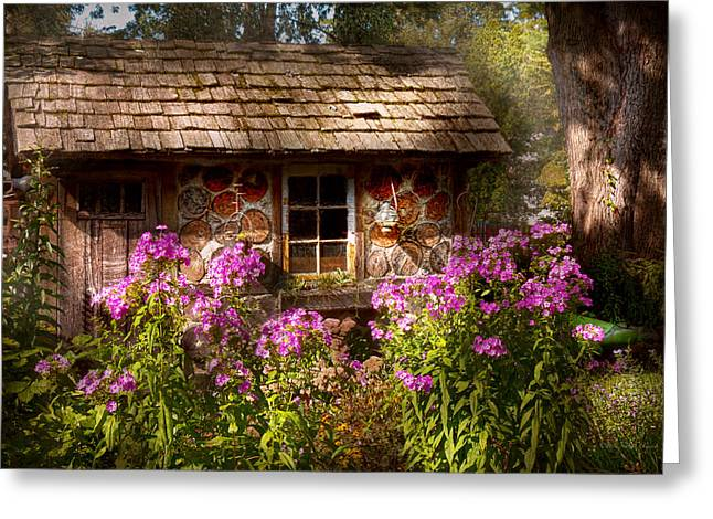 Log Cabin Art Greeting Cards - Garden - Belvidere NJ - My little cottage Greeting Card by Mike Savad