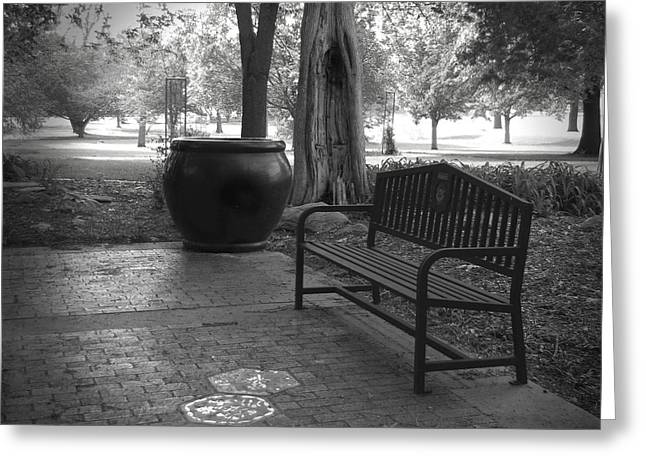 Brick Patio Greeting Cards - Garden Bench black and white photograph Greeting Card by Ann Powell