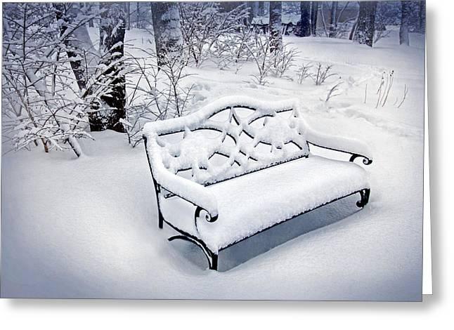 March Greeting Cards - Garden Bench in Winter Greeting Card by Carolyn Derstine