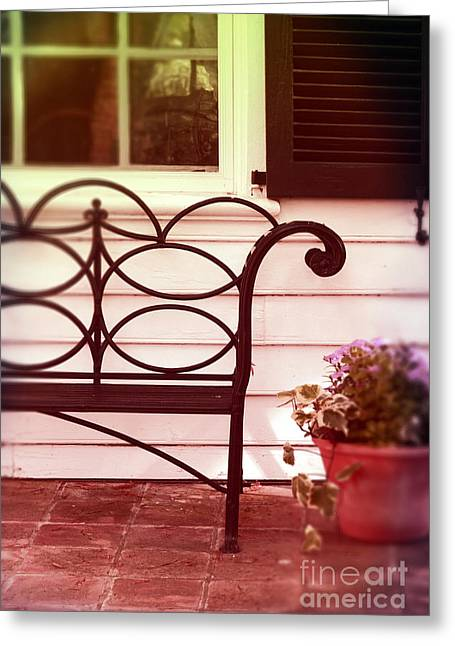 Clapboard House Greeting Cards - Garden Bench Greeting Card by Jill Battaglia