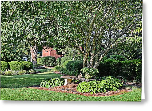 Garden Statuary Greeting Cards - Garden Bench Greeting Card by Linda Brown