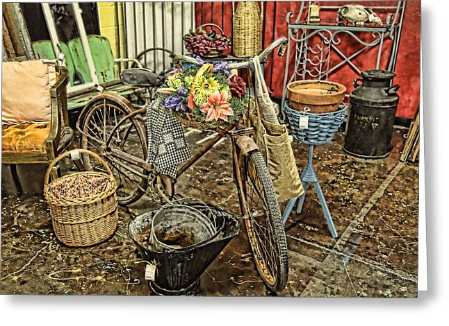Lawn Chair Greeting Cards - Garden Bike Greeting Card by Toni Hopper