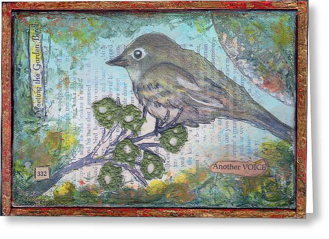 Chihuahua Artwork Greeting Cards - Garden Bird #2 Greeting Card by Jen Kelly Hirai