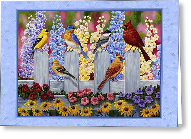 American Goldfinch Greeting Cards - Garden Birds Duvet Cover Blue Greeting Card by Crista Forest