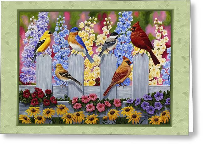 Garden Birds Duvet Cover Green Greeting Card by Crista Forest