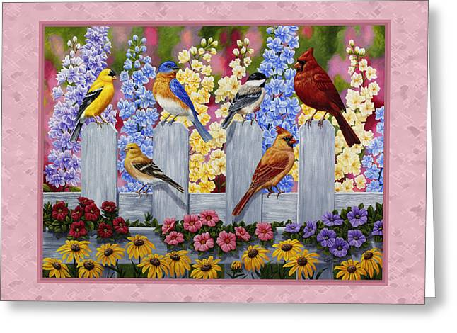 Larkspur Greeting Cards - Garden Birds Duvet Cover Pink Greeting Card by Crista Forest