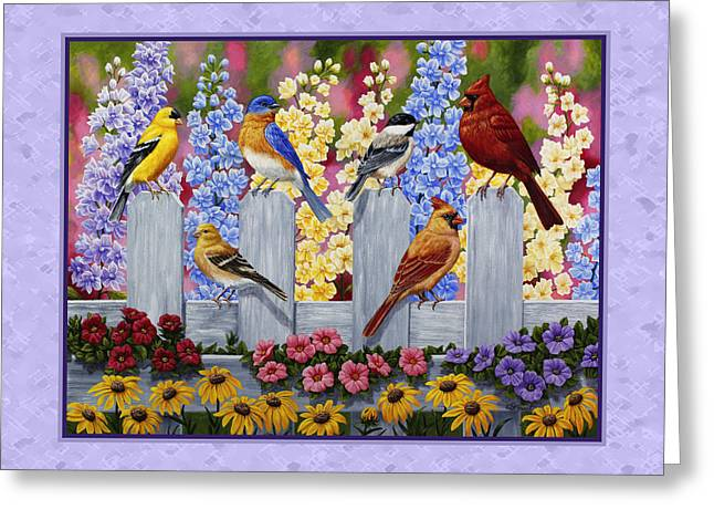Larkspur Greeting Cards - Garden Birds Duvet Cover Purple Greeting Card by Crista Forest