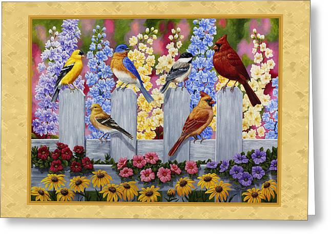 Garden Birds Duvet Cover Yellow Greeting Card by Crista Forest