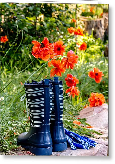 Gardening Tools Greeting Cards - Garden Boots Greeting Card by Teri Virbickis