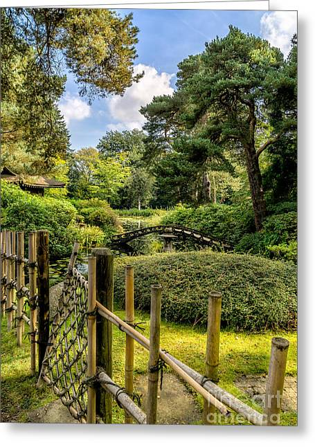 Bamboo House Greeting Cards - Garden Bridge Greeting Card by Adrian Evans