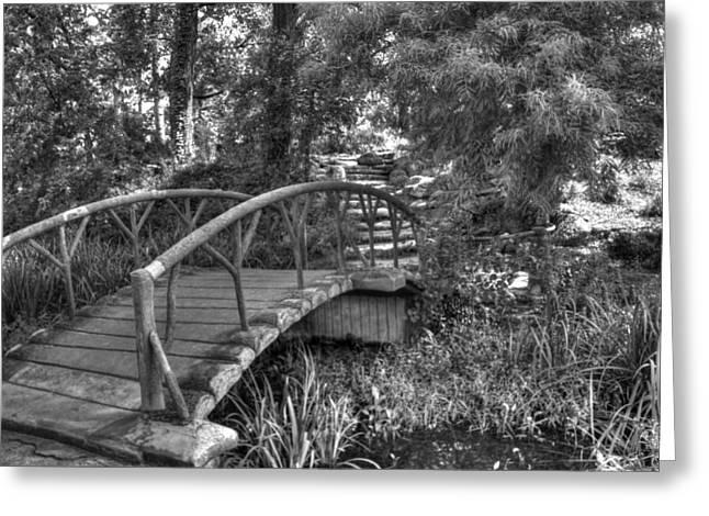 Beautiful Creek Greeting Cards - Garden Bridge at Woodward Park 1 Greeting Card by John Straton